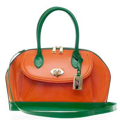 AURA Italian Made Orange and Green Patent Leather Tote