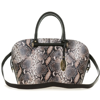 Giordano Italian Made Brown Python Print Leather Tote Handbag