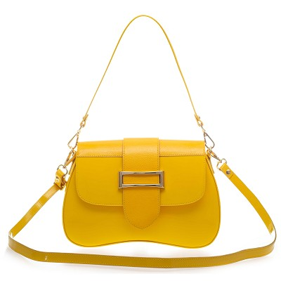 AURA Italian Made Yellow Patent Leather Small Crossbody Purse