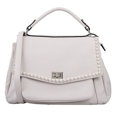 Maury Italian Made Beige Leather Satchel with Pearl Detail