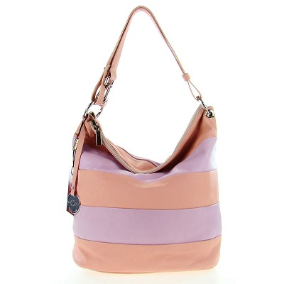 Italian Made Pastel Pink & Lilac Stripe Leather Hobo Bag By M.A.P. Italy - / CLEARANCE /