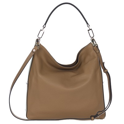 Gianni Chiarini Italian Made Brown Pebbled Leather Large Hobo Bag