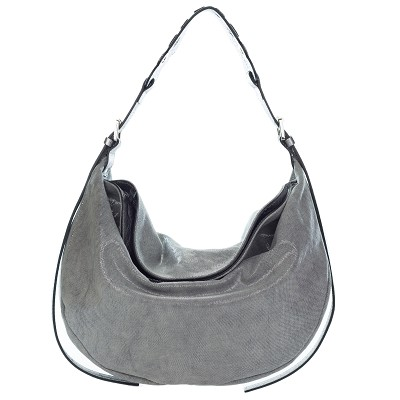 Gianni Chiarini Italian Made Coated Silver Canvas & Leather Hobo Bag