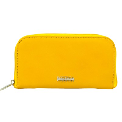 Bottega Fiorentina Italian Made Yellow Calf Leather Womens Zip Around Wallet