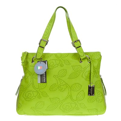 Giordano Italian Made Green Flower Embossed Leather Tote Handbag
