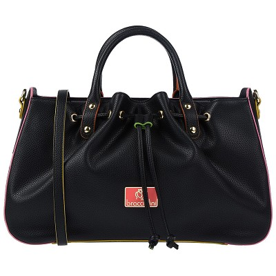Braccialini Italian Pebbled Black Leather Tote