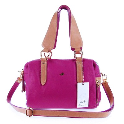 Bruno Rossi Italian Made Magenta Calfskin Leather Satchel Shoulder Bag