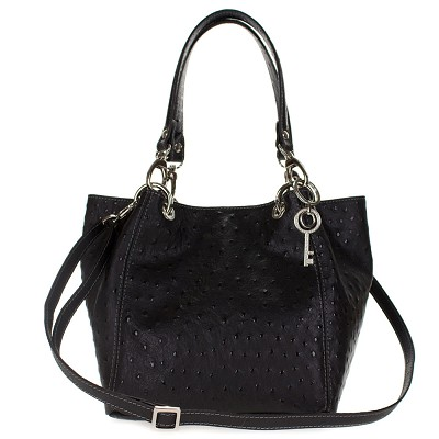 Maxima Italian Made Black Ostrich Embossed Leather Medium Size Tote Shoulder Bag - / CLEARANCE /