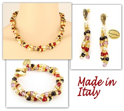 Italian Venetian Murano Jewelry Set: Necklace, Earrings And Bracelet - Red