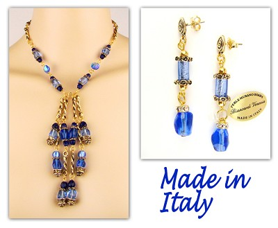 Italian Designer Venetian Murano Jewelry Set: Necklace And Earrings - Blue