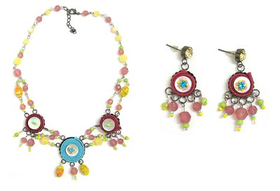 Italian Fashion Jewelry Set: Necklace And Earrings - Guadalupe2