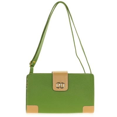 Giordano Italian Made Green and Beige Leather Shoulder Bag
