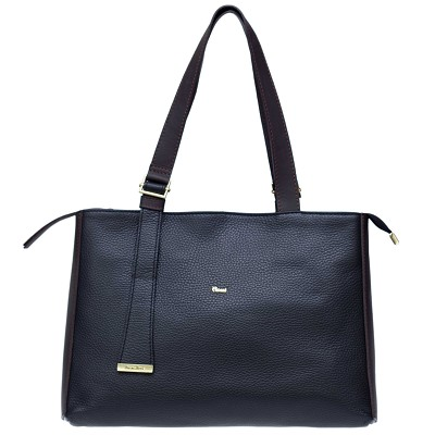 Bruno Rossi Italian Made Black Pebbled Leather Large Tote Bag