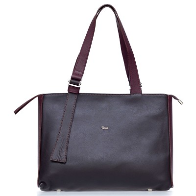 Bruno Rossi Italian Made Dark Brown Calf Leather Large Tote Bag