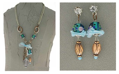 Italian Fashion Jewelry Set: Necklace And Earrings - Madagaskar2