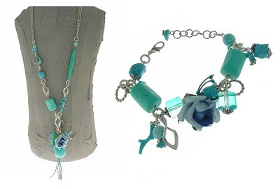 Italian Fashion Jewelry Set: Necklace And Bracelet - Maldive3