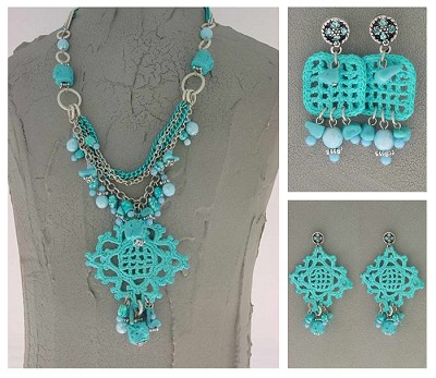 Italian Fashion Jewelry Set: Necklace And 2 Pairs Of Earrings - Sicilia2